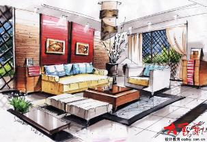 手绘基础阶段的线条,快速表现室内家具陈设的结构