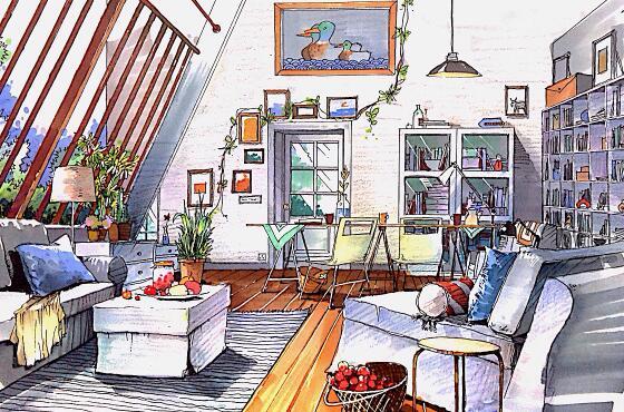 线条,室内单体线稿,室内透视,室内设计线稿,室内单体与空间着色,马克